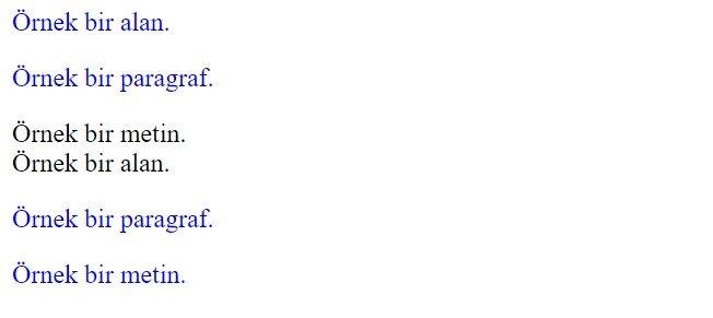 css çoklu ( multiple ) seçiciler örnek 2 sonucu