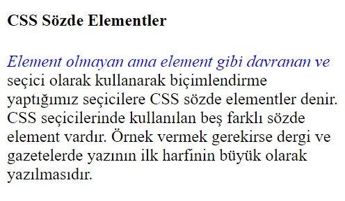 css sözde elementler first line kullanımı