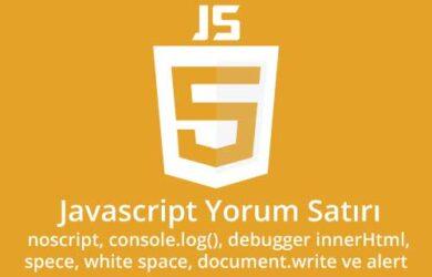 javascript yorum satırı, debugger, noscript, innerHtml, console-log, alert kullanımı